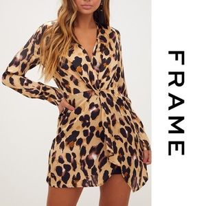Frame • Twist-Front Silk Leopard Mini Dress • NWT